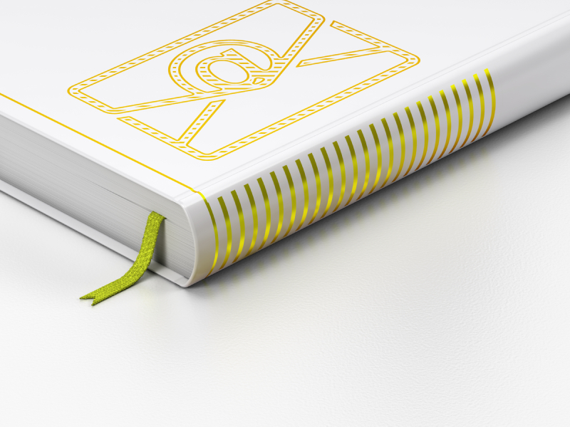 Closed, white, leather-bound book with email symbol on cover